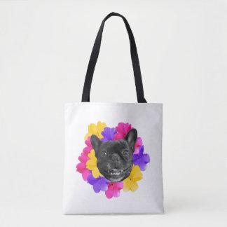 Frenchie und Stiefmütterchen-Tasche Tasche