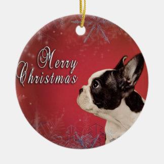 Frenchie Weihnachtskarte Keramik Ornament
