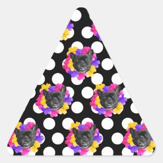 Frenchies und Pansy-Punkte Dreieckiger Aufkleber