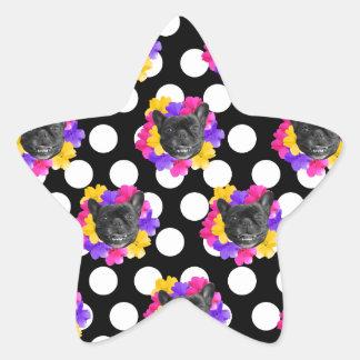 Frenchies und Pansy-Punkte Stern-Aufkleber