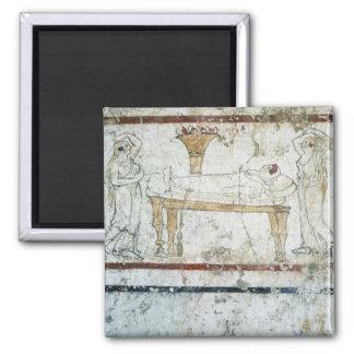 Fresko vom Grab von Gaudio, c.480 BC Quadratischer Magnet