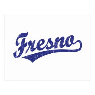 Fresno-Skriptlogo im Blau beunruhigt Postkarte