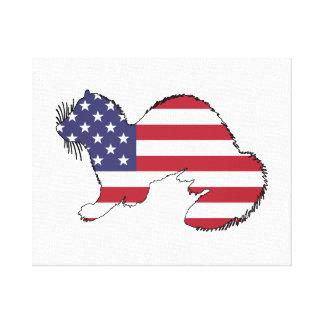 """Frettchen """"amerikanische Flagge """" Leinwanddruck"""