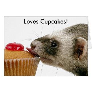 Frettchen-Liebe-kleine Kuchen Grußkarte