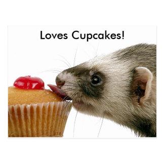Frettchen-Liebe-kleine Kuchen Postkarte