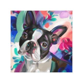"""""""Freude-"""" Boston-Terrier-Hundekunstdruck auf Leinwanddruck"""