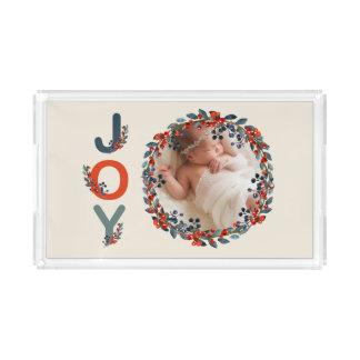 Freude-Foto des Feiertags-Beeren-Babys erstes Acryl Tablett