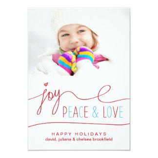Freude-Friedens-u. Liebe-Weihnachtsbuchstabe-Foto- Personalisierte Einladung