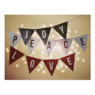 Freude-FriedensLiebe-Weihnachtspostkarte Postkarte