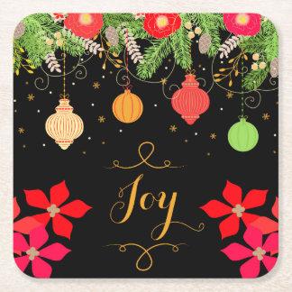 Freude-helle Weihnachtsflitter-Verzierungen und Rechteckiger Pappuntersetzer