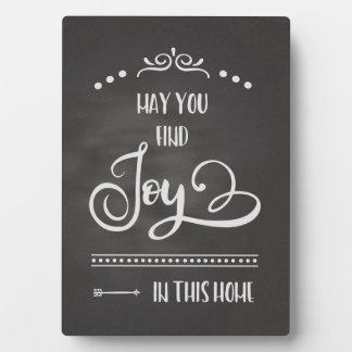 Freude in dieser Zuhause-Tafel Fotoplatte