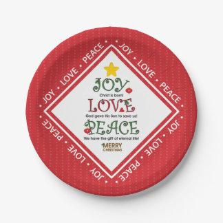 Freude-Liebe-Friedenschristliches Weihnachten Pappteller