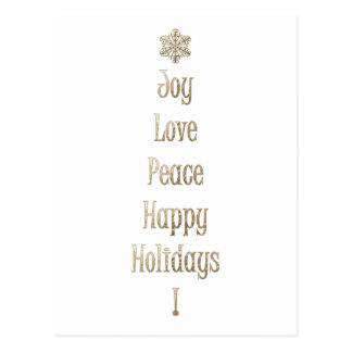Freude-Liebe-Friedensglückliche Feiertage Postkarte
