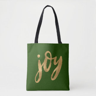 Freude-Skript-Gold und grünes kundenspezifisches Tasche