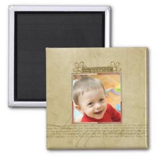 Freude- und Glück-Fotomagnet Quadratischer Magnet