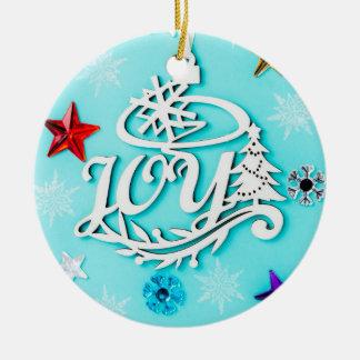FREUDE Weihnachtsbaum-Verzierung Rundes Keramik Ornament