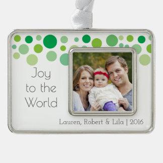 Freude zum Weltmodernen Feiertag punktiert Rahmen-Ornament Silber