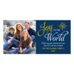 Freude zum Weltreligiösen Weihnachtsmarine-Blau Foto Karte