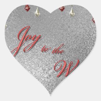 Freude zum Weltweihnachten Herz-Aufkleber