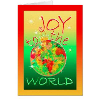 Freude zum Weltweihnachten mit bunter Welt Grußkarte