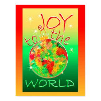 Freude zum Weltweihnachten mit bunter Welt Postkarte