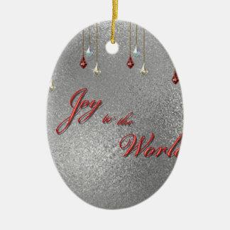 Freude zum Weltweihnachten Ovales Keramik Ornament