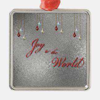 Freude zum Weltweihnachten Quadratisches Silberfarbenes Ornament