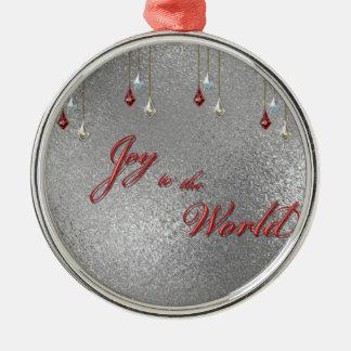 Freude zum Weltweihnachten Rundes Silberfarbenes Ornament