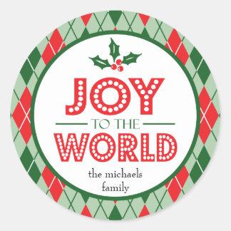 Freude zum Weltweihnachten (Stechpalme) Runder Aufkleber