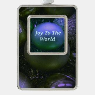 """Freude zur Welt"" Grün-lila Feiertag Rahmen-Ornament Silber"