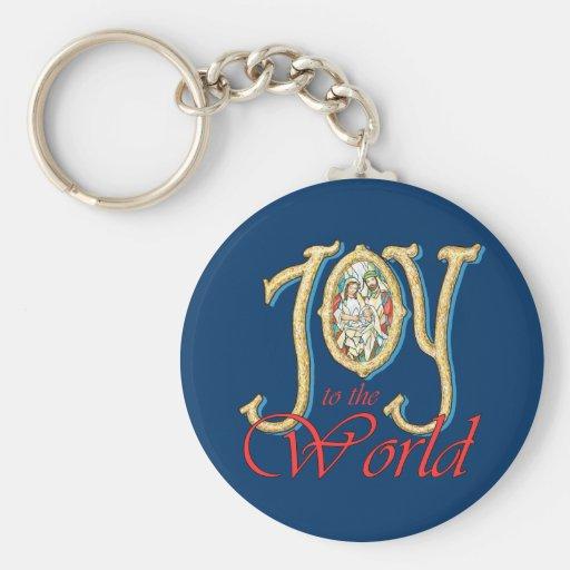 Freude zur Welt mit Buntglas-Geburt Christi Schlüsselanhänger