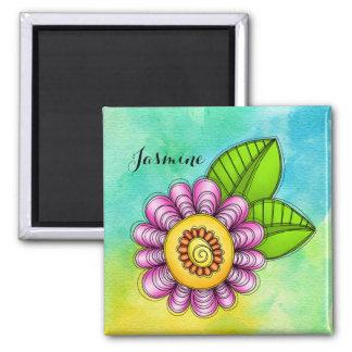 Freudewatercolor-Gekritzel-Blumen-Magnet Quadratischer Magnet