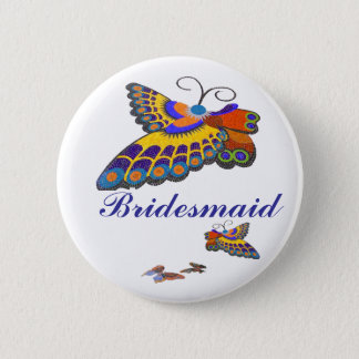 Freudige Schmetterlings-Brautjungfer Runder Button 5,1 Cm