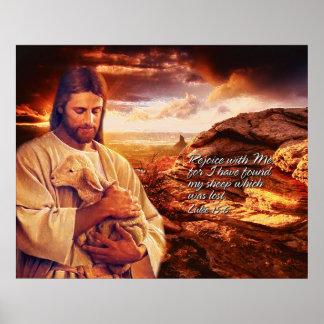 Freuen Sie sich mit mir. Luke-15:6 Druck Plakat