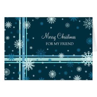 Freund-frohe Weihnacht-Karten-Blau-Schneeflocken Karte