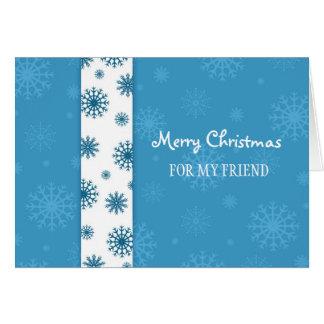 Freund-frohe Weihnacht-Karten-blaue weiße Karte
