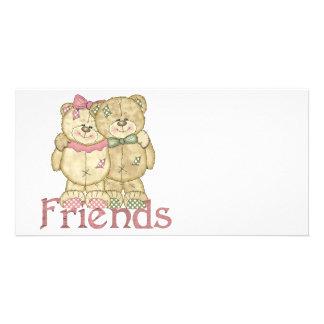 Freund-Teddybär-Paare - ursprüngliche Farben Foto Karten Vorlage