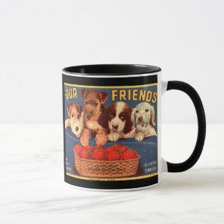 Freund-Vintage Tomate-Kisten-Aufkleber-Tasse KRW Tasse