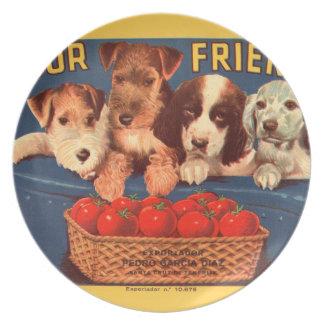 Freund-Vintage Tomateveggie-Aufkleber-Platte KRW Party Teller