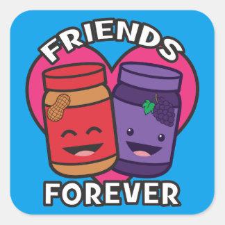 Freunde für immer - Erdnussbutter und Gelee Kawaii Quadratischer Aufkleber