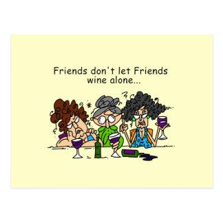Freunde lassen nicht Freundwein allein Postkarte
