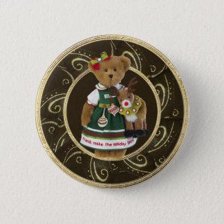 Freunde stellen den Feiertags-Schein-Bärn-Knopf Runder Button 5,7 Cm