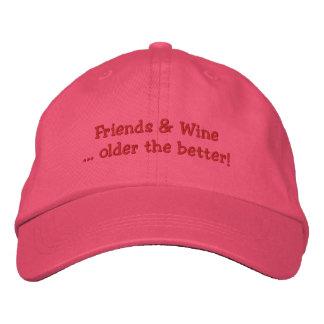 Freunde u. Wein älter der bessere gestickte Hut