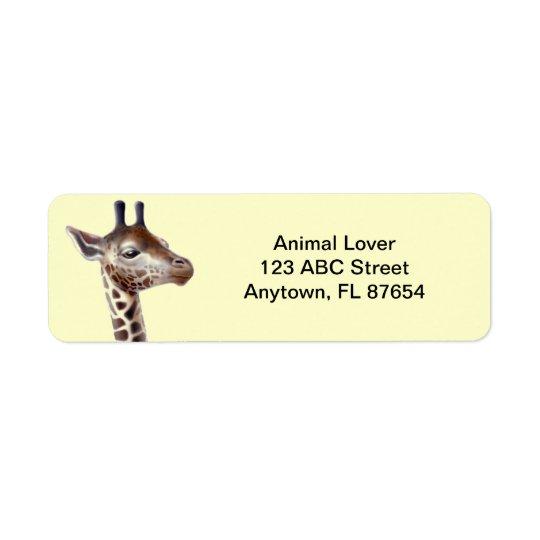 Freundliche Giraffe kundengerecht Rücksende Aufkleber