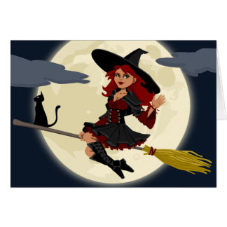 Freundliche Halloween-Hexe auf Besen und schwarzer Karte