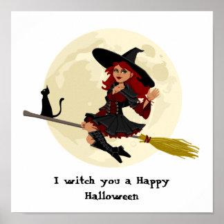 Freundliche Halloween-Hexe auf Besen und schwarzer Poster