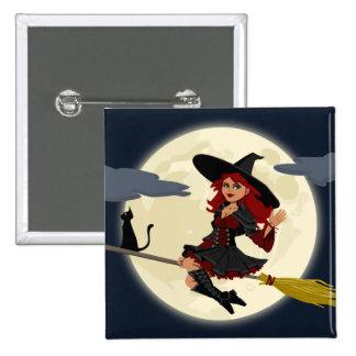 Freundliche Halloween-Hexe auf Besen und schwarzer Quadratischer Button 5,1 Cm