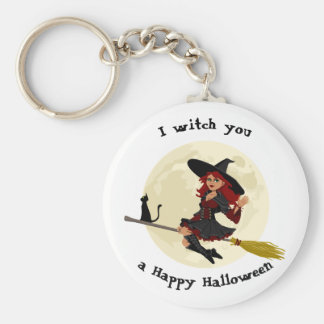 Freundliche Halloween-Hexe auf Besen und schwarzer Schlüsselanhänger