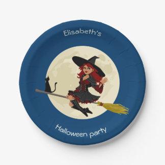 Freundliche Hexe mit Besenhalloween-Cartoonmädchen Pappteller