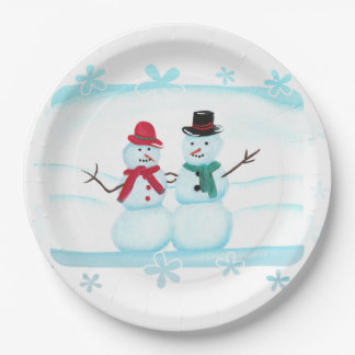 Freundliche Schnee-Paar-Leute-wellenartig Pappteller